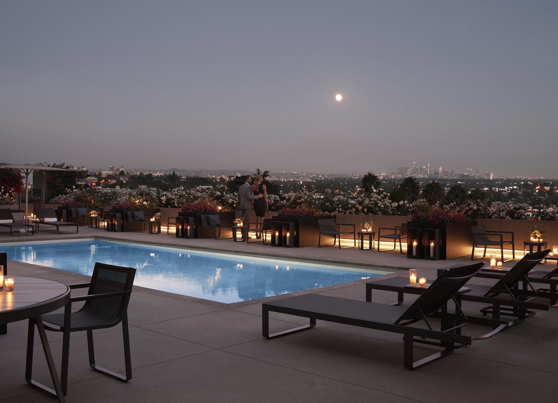 Rooftop lounge with pool and bar