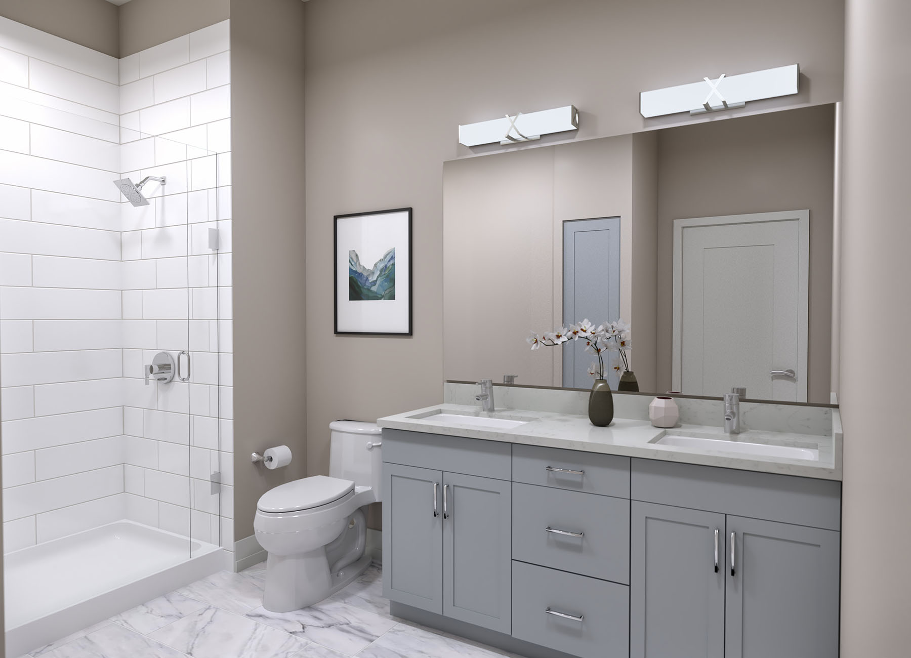Rendering of a white bathroom with high end material finishes