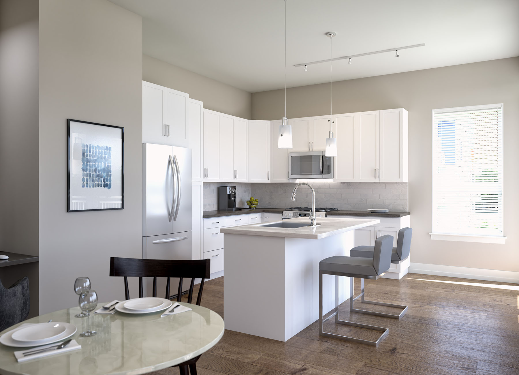 Rendering of a kitchen with granite countertops, island, and stainless steel applicances
