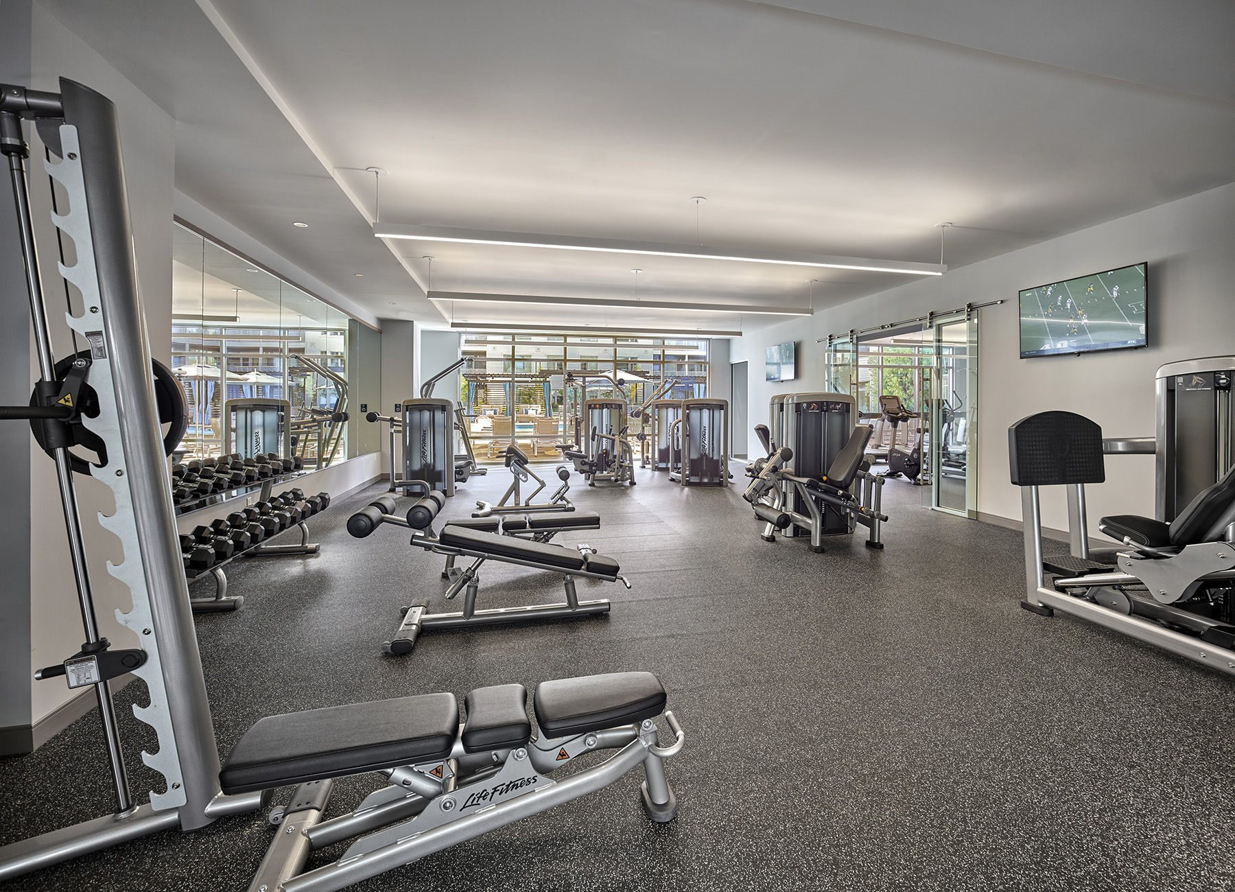 Fitness center with large windows and strength equipment